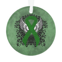 Green Awareness Ribbon with Wings Ornament