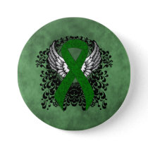 Green Awareness Ribbon with Wings Pinback Button