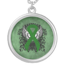 Green Awareness Ribbon with Wings Silver Plated Necklace