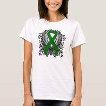 Green Awareness Ribbon with Wings T-Shirt