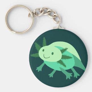Green Axolotl Basic Round Button Keychain