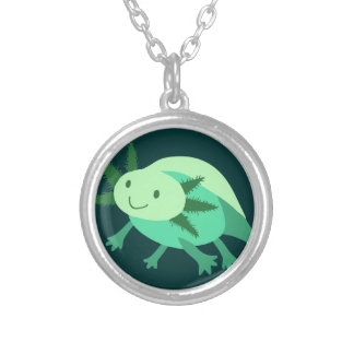 Green Axolotl Round Pendant Necklace