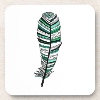 Green Aztec Feather Drink Coaster