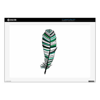 Green Aztec Feather Laptop Decal