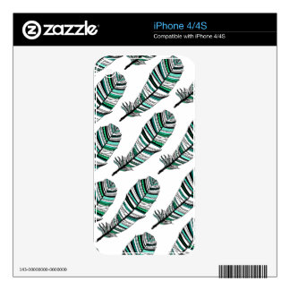 Green Aztec Feathers pattern Skin For iPhone 4S