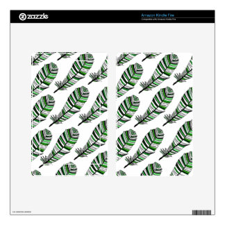 Green Aztec Feathers pattern Skins For Kindle Fire