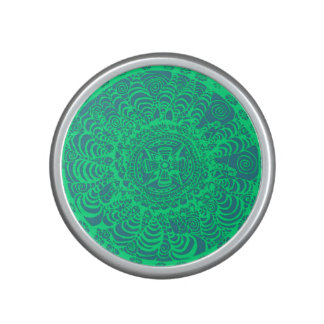 Green Aztec Mandala Speaker