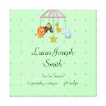 Green Baby Animal Mobile Baby Stretched Canvas Prints