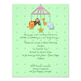 Green Baby Animal Mobile Baby Shower Invitation