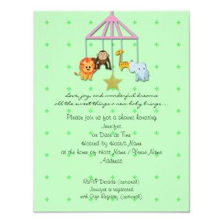 Green Baby Animal Mobile Baby Shower Invitation