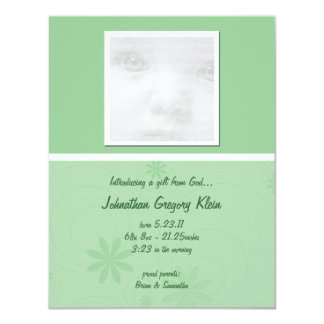 Green Baby Announcement Cards