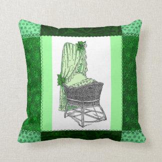 Green Baby Bassinet Patchwork Pillow