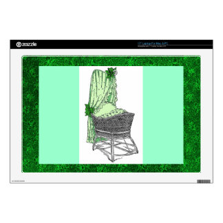 "Green Baby Bassinet Zazzle Skin Decals For 17"" Laptops"