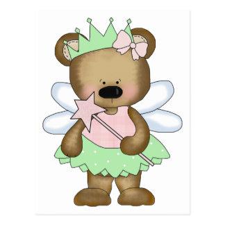 Green Baby Bear Fairy Postcard