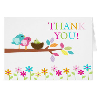 Green Baby Birds Nest Thank You Note Card