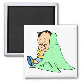 Green baby blankie 2 inch square magnet