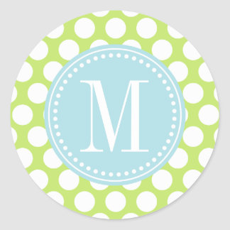 Green & Baby Blue Big Polka Dots Monogrammed Classic Round Sticker