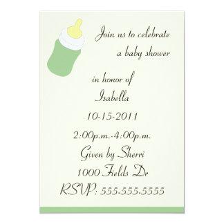 Green baby bottle baby shower invitation