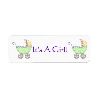 Green Baby Buggy Carriage Gender Annoucement Label