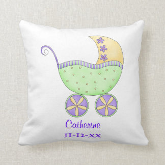 Green Baby Buggy Carriage Name Birth Personalized Pillow