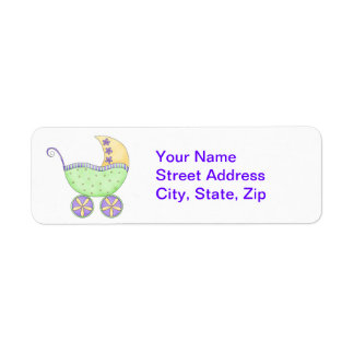 Green Baby Buggy Carriage Shower Customized Label