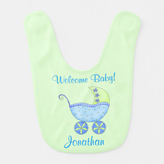Green Baby Buggy Welcome Baby Name Personalized Baby Bib