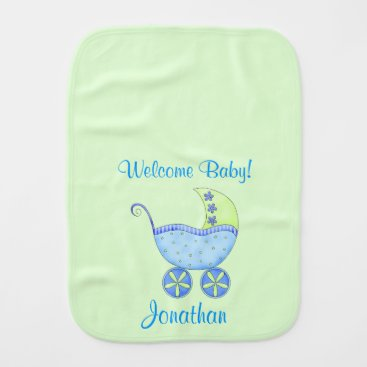 Toddler & Baby themed Green Baby Buggy Welcome Baby Name Personalized Baby Burp Cloth