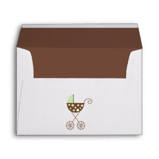 Green Baby Carriage Baby Shower Envelope