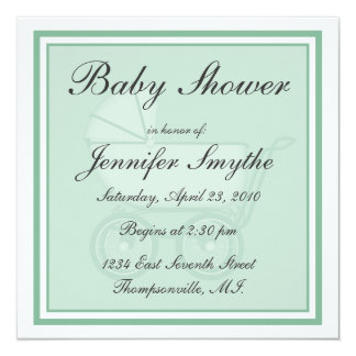 """Green Baby Carriage Baby Shower Invitation 5.25"""" Square Invitation Card"""