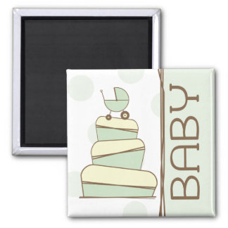 Green Baby Carriage Cake  Magnet