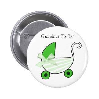 Green Baby Carriage Grandmother Button