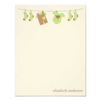 Green Baby Clothesline Flat Thank You Notes Card