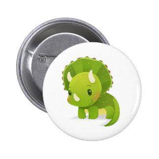 green baby cute dinosaur cartoon 2 inch round button