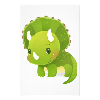 green baby cute dinosaur cartoon stationery