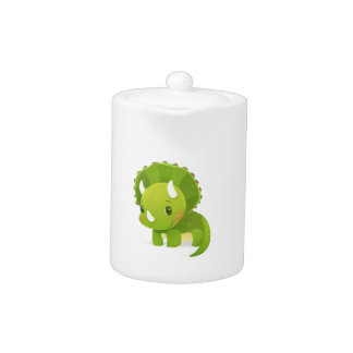 green baby cute dinosaur cartoon teapot