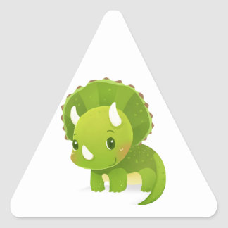 green baby cute dinosaur cartoon triangle sticker