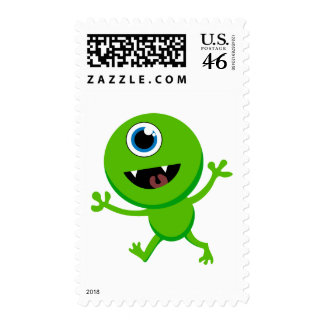 Green Baby Cyclops Postage Stamp