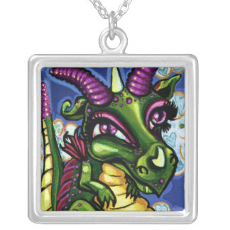 """Green Baby Dragon"" Square Sterling Silver Necklac Silver Plated Necklace"