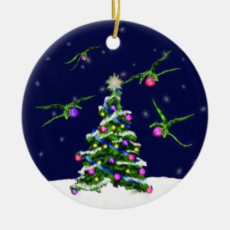 Green Baby Dragons Encircle a Christmas Tree Ceramic Ornament