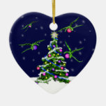 Green Baby Dragons Encircle a Christmas Tree Double-Sided Heart Ceramic Christmas Ornament