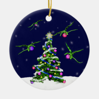 Green Baby Dragons Encircle a Christmas Tree Double-Sided Ceramic Round Christmas Ornament