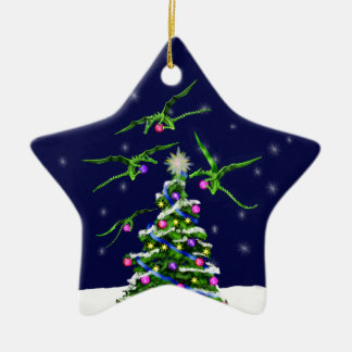 Green Baby Dragons Encircle a Christmas Tree Double-Sided Star Ceramic Christmas Ornament