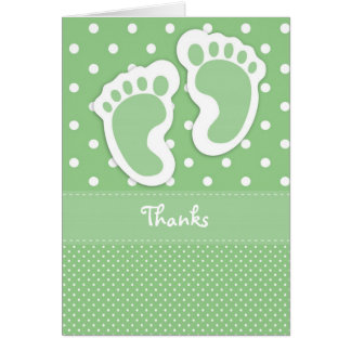 Green Baby Foot Print Thank You Card