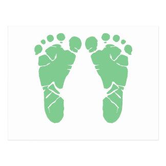 Green baby footprints postcard