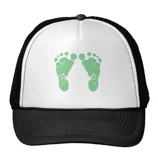 Green baby footprints trucker hat