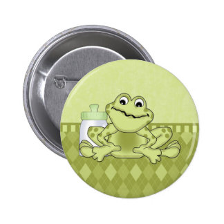Green Baby Frog on Argyle Pinback Button