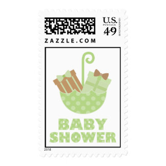 Green Baby Gifs in Umbrella Postage Stamp