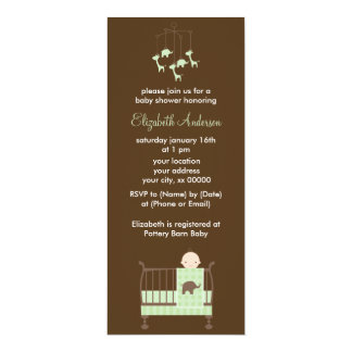 Green Baby in Crib Baby Shower 4x9.25 Paper Invitation Card