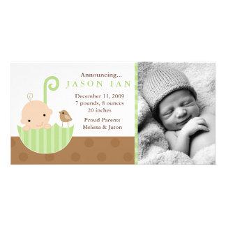 Green Baby in Umbrella Birth Announcements