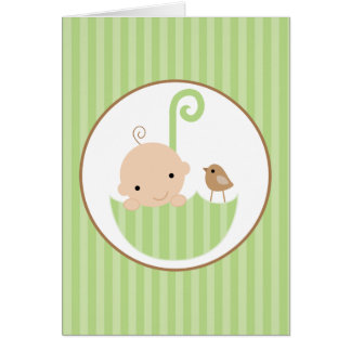 Green Baby in Umbrella Card